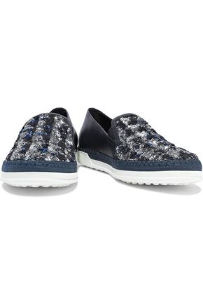 TOD'S Sequin-embellished leather slip-on sneakers