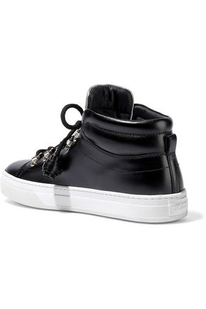 TOD'S Sportivo XK metallic-trimmed leather high-top sneakers
