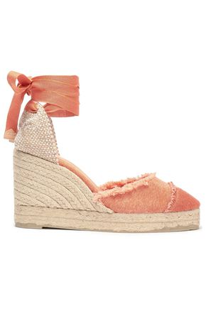 CASTAÑER Catalina frayed canvas wedge espadrilles