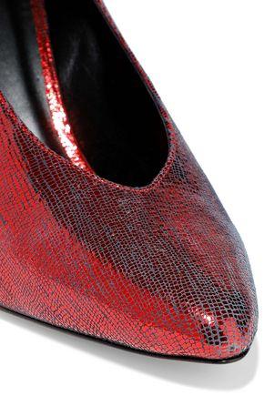 ISABEL MARANT Metallic lizard-effect leather pumps