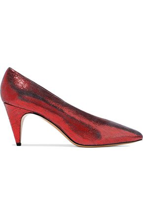 ISABEL MARANT Metallic lizard-effect leather pumps