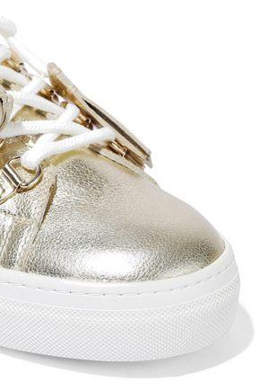 TOD'S Sportivo XK metallic cracked-leather sneakers