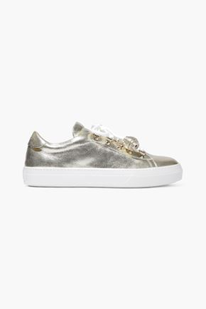 TOD'S Sportivo XK metallic cracked-leather sneakers