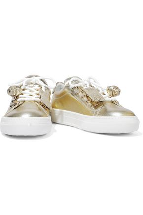 Tod's Sportivo Xk Metallic Cracked-leather Sneakers In Gold