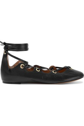 ISABEL MARANT Leomia lace-up leather ballet flats