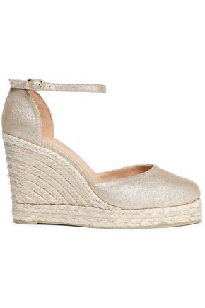 CASTAÑER Metallic leather wedge espadrille sandals