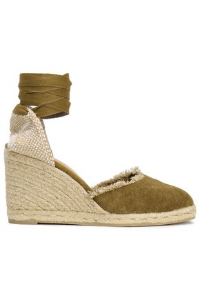 CASTAÑER Frayed canvas wedge espadrilles