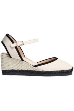 CASTAÑER Comino grosgrain-trimmed canvas wedge espadrilles