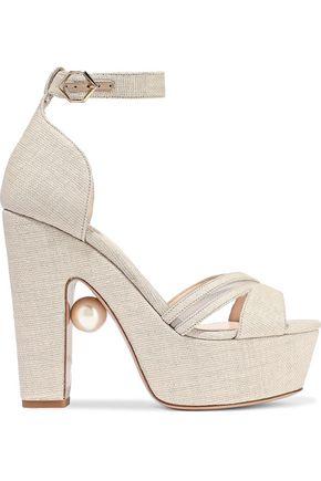 NICHOLAS KIRKWOOD Faux pearl-embellished mesh-trimmed coated raffia platform sandals