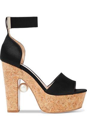 NICHOLAS KIRKWOOD Faux pearl-embellished satin and cork platform sandals