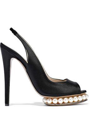 NICHOLAS KIRKWOOD Faux pearl-embellished satin platform slingback pumps