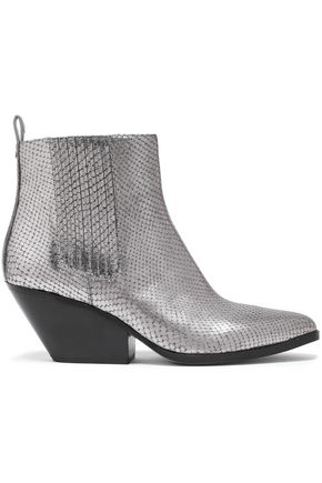 MICHAEL MICHAEL KORS Sinclair metallic snake-effect leather ankle boots