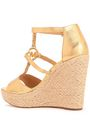 MICHAEL MICHAEL KORS Metallic snake-effect leather wedge espadrille sandals