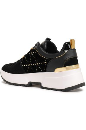 MICHAEL MICHAEL KORS Cosmo studded leather and velvet-paneled sneakers