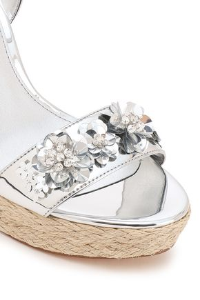 MICHAEL MICHAEL KORS Embellished mirrored faux leather wedge espadrille sandals