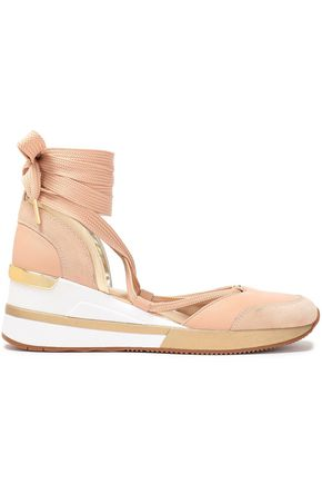 MICHAEL MICHAEL KORS Paneled suede and textured-leather sneakers