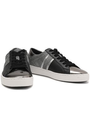 MICHAEL MICHAEL KORS Keaton metallic knitted and faux leather sneakers