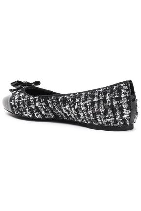 MICHAEL MICHAEL KORS Embellished leather-paneled bouclé-tweed ballet flats