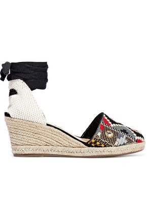 SCHUTZ Lace-up embroidered suede wedge espadrilles