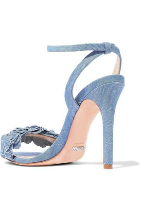 SCHUTZ Aida floral-appliquéd denim sandals