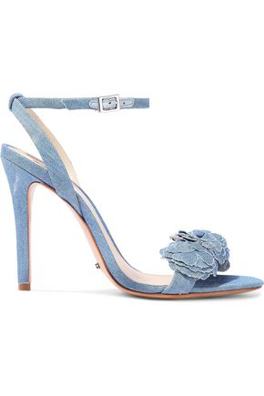 SCHUTZ Aida floral-appliquéd denim sandals