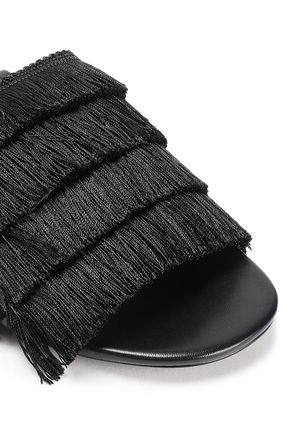 MICHAEL MICHAEL KORS Fringed silk and leather sandals