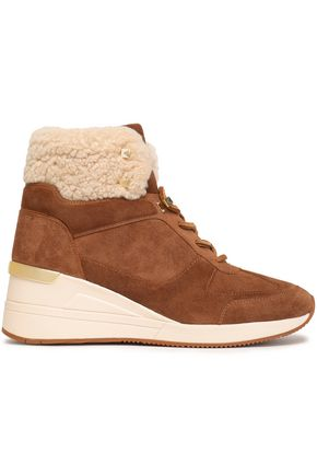 MICHAEL MICHAEL KORS Liv studded shearling-trimmed suede ankle boots