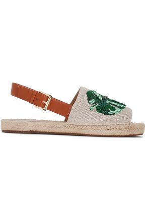 MICHAEL MICHAEL KORS Fisher embellished leather-trimmed canvas espadrilles
