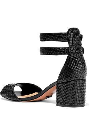 SCHUTZ Buckled woven leather sandals