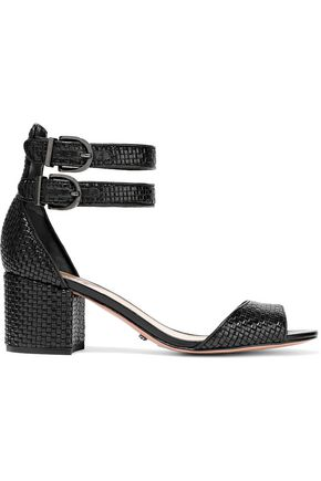 SCHUTZ Buckled woven leather sandals