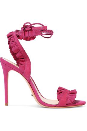 SCHUTZ Ruffled suede and nubuck sandals