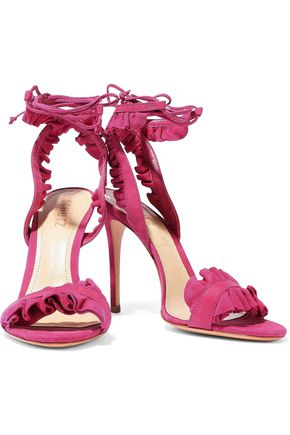 SCHUTZ Ruffled suede and nubuck sandals