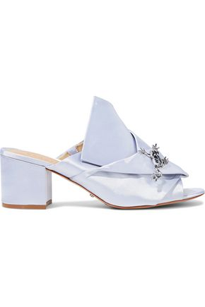 SCHUTZ Madelly appliquéd gathered satin mules