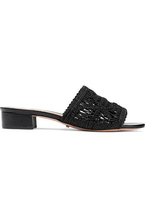 SCHUTZ Tille leather-trimmed macramé mules