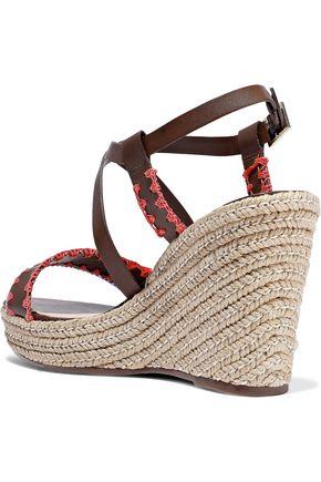 SCHUTZ Embroidered leather wedge espadrille sandals