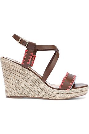 SCHUTZ Embroidered leather wedge espadrille sandals