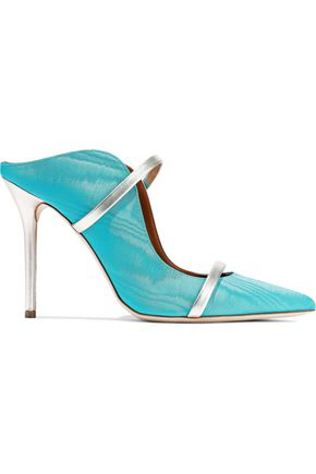 MALONE SOULIERS Maureen metallic leather-trimmed moire mules