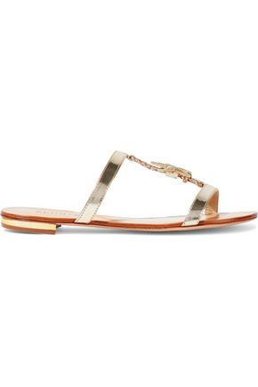 SCHUTZ Appliquéd mirrored-leather sandals