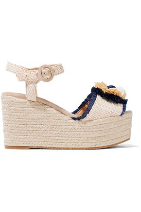 CASTAÑER Efedra embellished woven raffia espadrille platform sandals