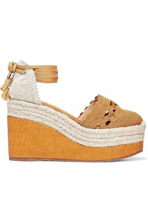 CASTAÑER Iris canvas and crochet wedge espadrilles