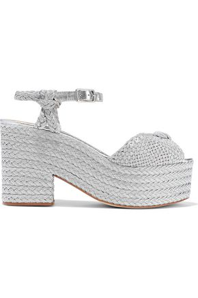 CASTAÑER Xilema knotted metallic braided and woven platform sandals