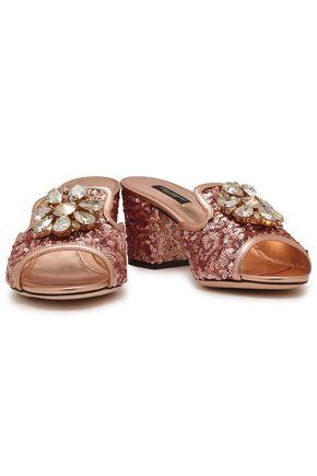 27b91544f7c DOLCE   GABBANA Crystal-embellished sequined metallic sandals