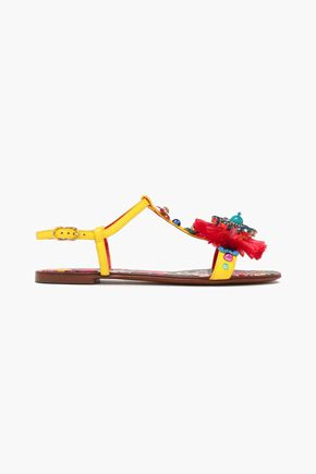 DOLCE & GABBANA Bianca Carret embellished lizard-effect leather slingback sandals