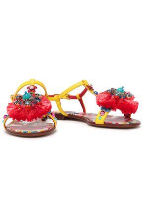 DOLCE & GABBANA Bianca Carret embellished lizard-effect leather slingback sandals