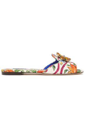 DOLCE & GABBANA Bianca crystal-embellished printed jacquard slides