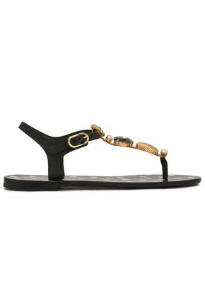 DOLCE & GABBANA Embellished rubber sandals