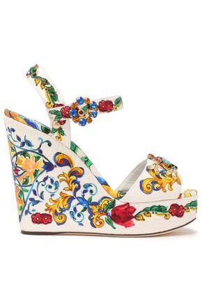 DOLCE & GABBANA Embellished jacquard wedge sandals