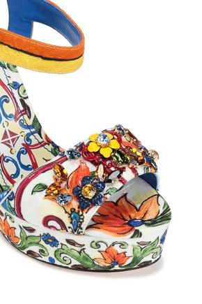 DOLCE & GABBANA Bianca crystal-embellished printed jacquard wedge sandals