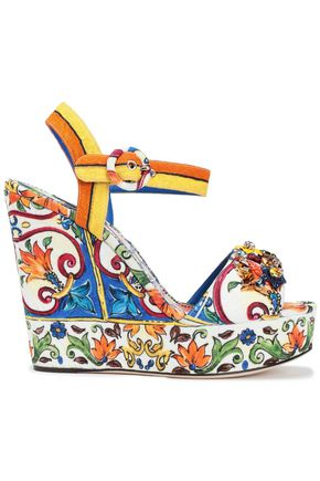 DOLCE & GABBANA Bianca crystal-embellished printed jacquard wedge sandals
