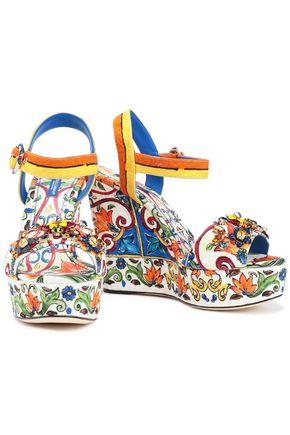 18fc2ffd9cd18 DOLCE & GABBANA Bianca crystal-embellished printed jacquard wedge sandals